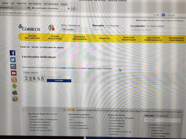 Phising de la página de correos.es